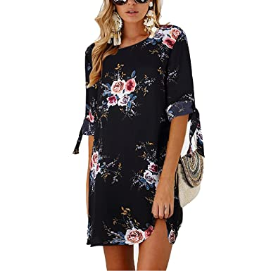 0be8429d166a Image Unavailable. Image not available for. Color: Summer Sexy Off Shoulder  Floral Print Dress Boho Short Party Beach Dresses Vestidos ...