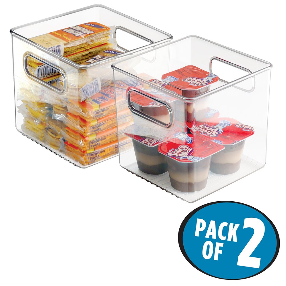 mDesign Plastic Kitchen Pantry Cabinet, Refrigerator or Freezer Food Storage Bins with Handles - Organizer for Fruit, Yogurt, Snacks, Pasta - Food Safe, BPA Free, 6'' Cube - 2 Pack, Clear
