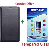 YuniKase (COMBO OFFER) for Coolpad Note 3 Lite - Leather Finish Flip Cover Case + Tempered Glass Mobile Screen Protector - (Black,Transperent)