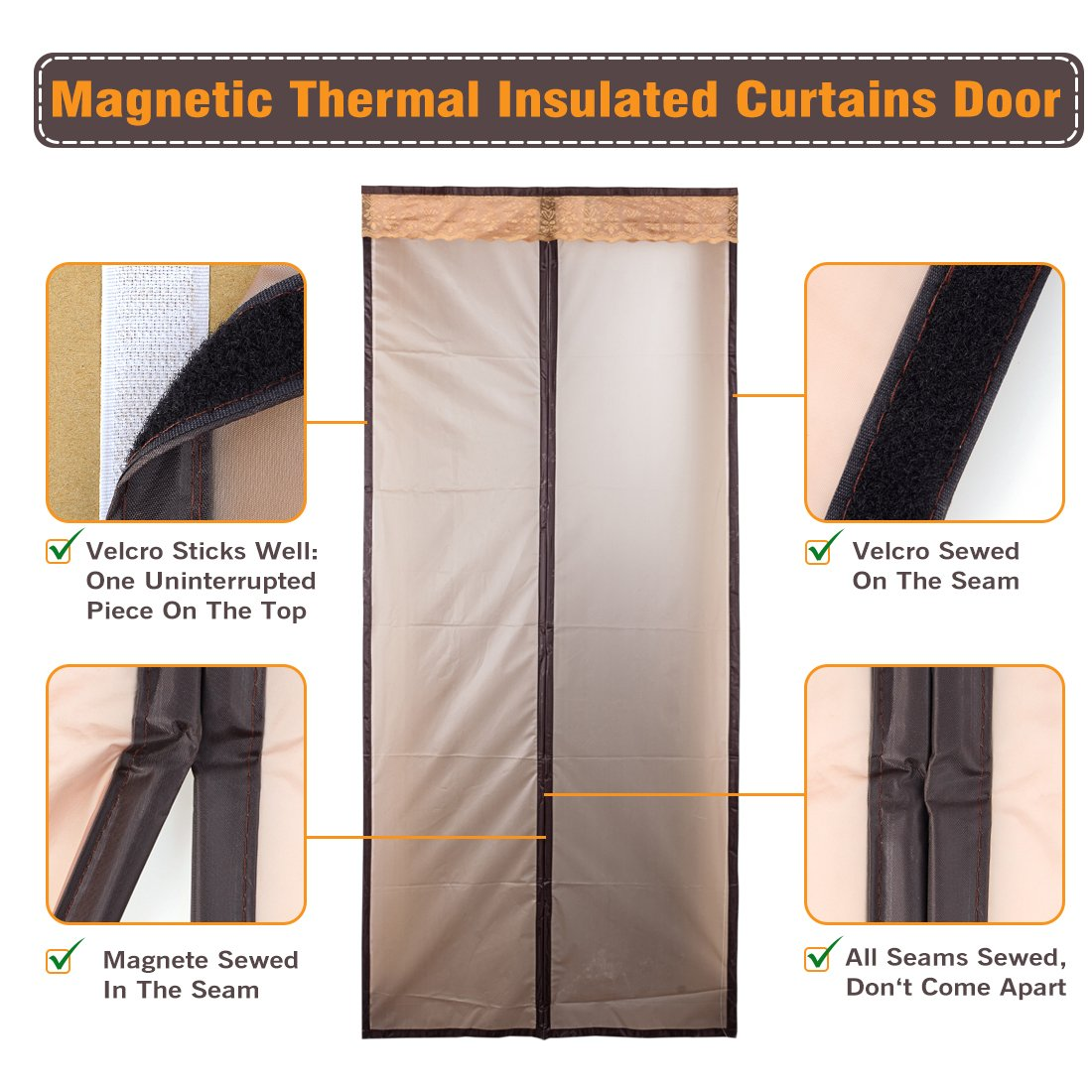 Magnetic thermal insulated door curtain enjoy your cool summer and magnetic thermal insulated door curtain enjoy your cool summer and warm winter with saving you money door curtain auto closer fits doors up to 34 x 82 rubansaba