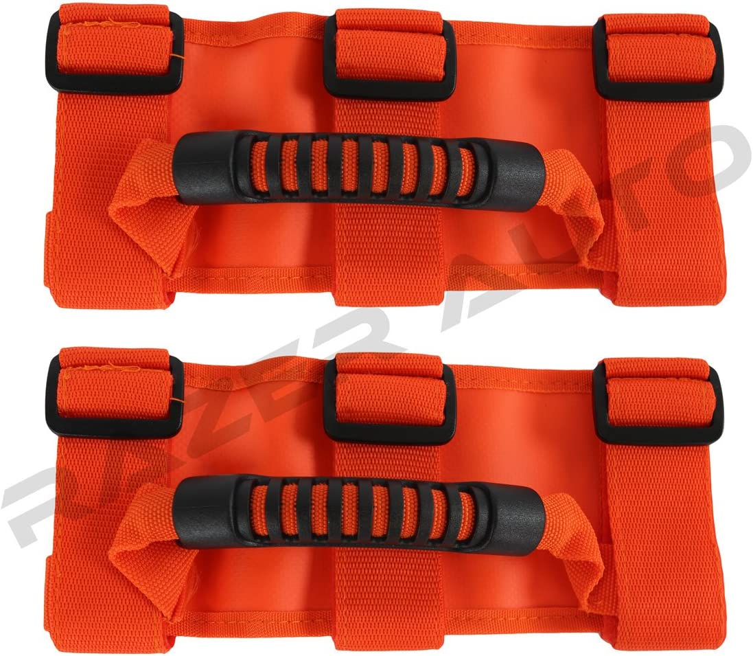 Razer Auto ORANGE Extreme Ultimate Unlimited Roll Bar Side Grab Handle Pair for 87-16 Jeep Wrangler JK TJ YJ CJ Rubicon