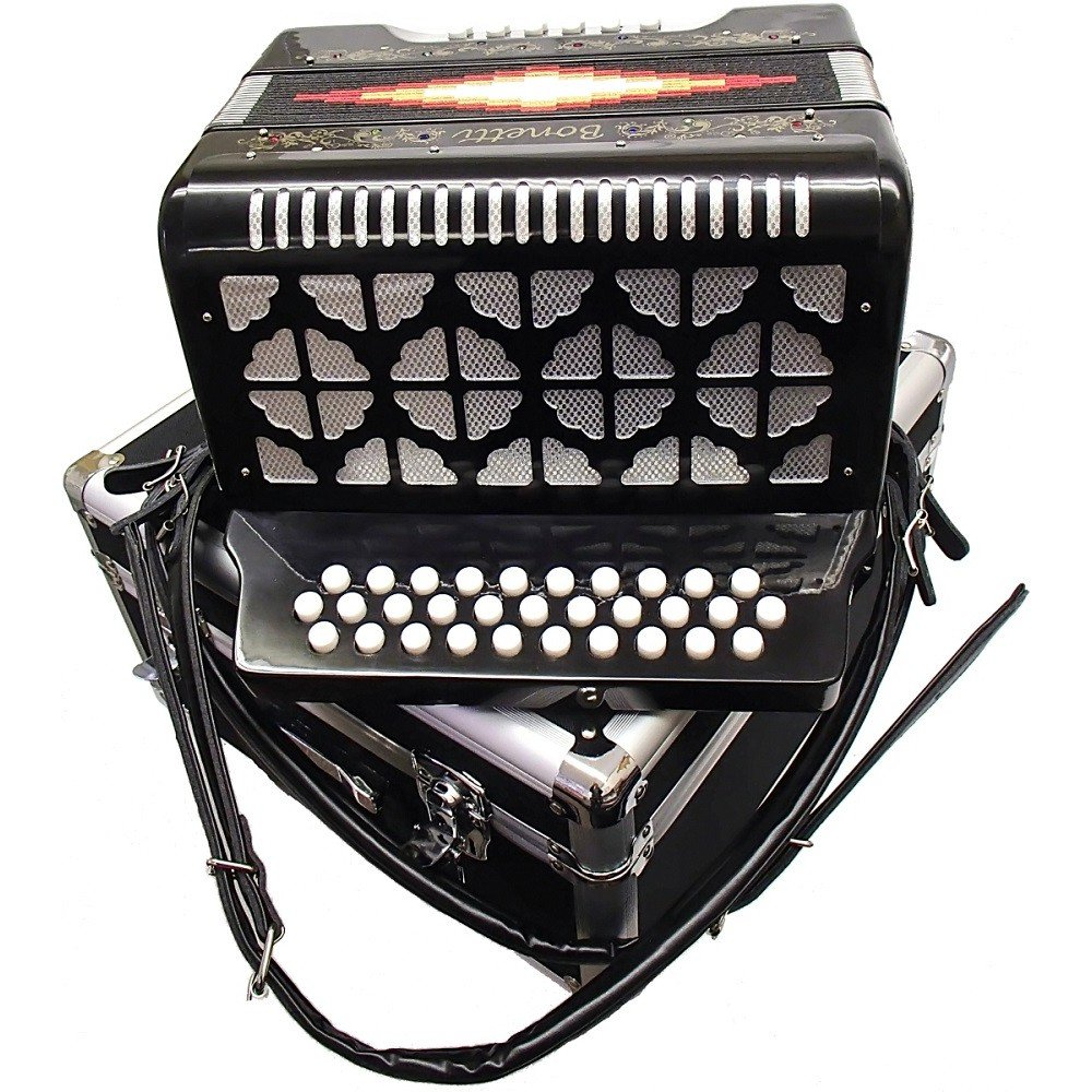 Bonetti Black Diatonic Button Accordion GCF 3012