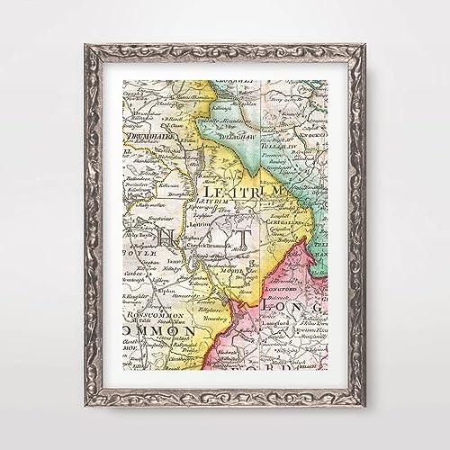 A4 Map Of Ireland.Amazon Com Leitrim County Ireland Irish Map Vintage Antique