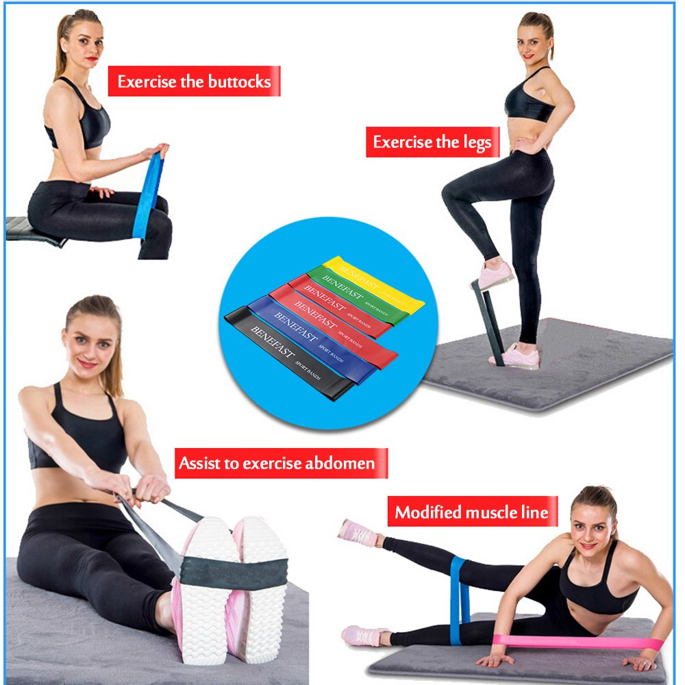 Benefast Resistance Bands, Exercise Bands Set of 6 with Different Strength levels, for Workout, Home Fitness, Stretching, Yoga, Pilates, Rehab, Physical Therapy