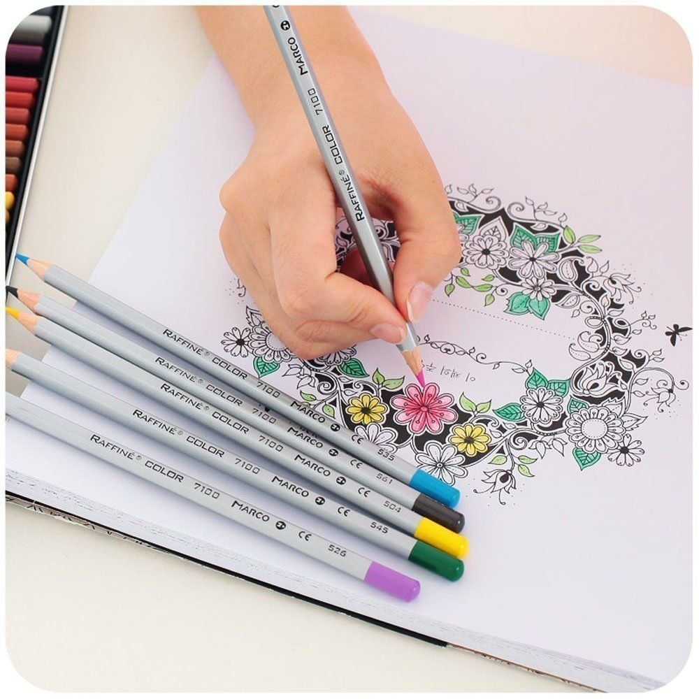 Amazon Marco Raffine 48 Color Fine Art Colored Pencils Drawing For Sketch Secret Garden Coloring Book Office Products