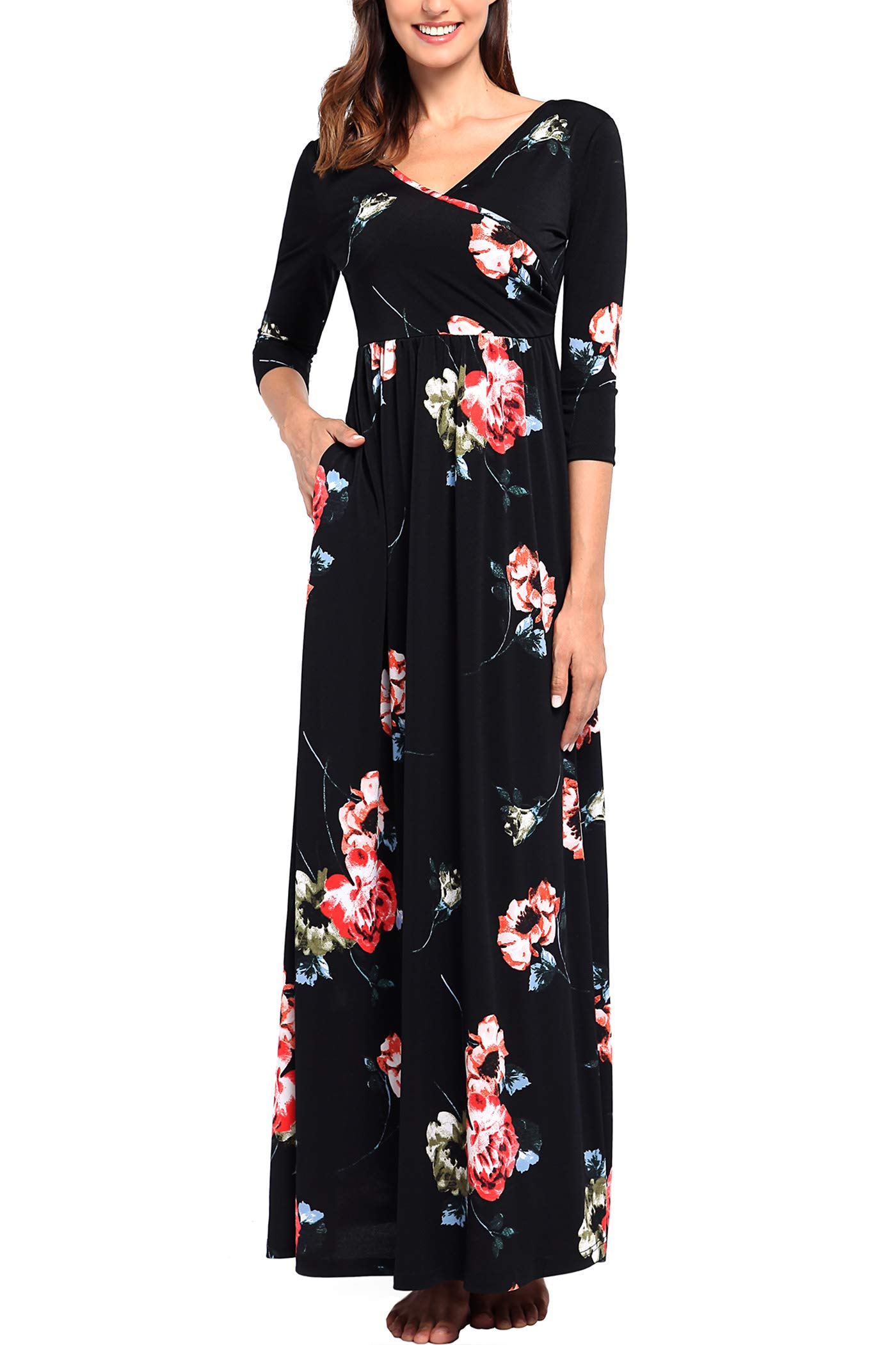 Comila 3/4 Sleeve Maxi Dress, Black Floral Maxi Dress Cocktail Party Autumn Maternity Sexy V Neck Long Casual Dresses with Pockets Black Red M (US 8-10)