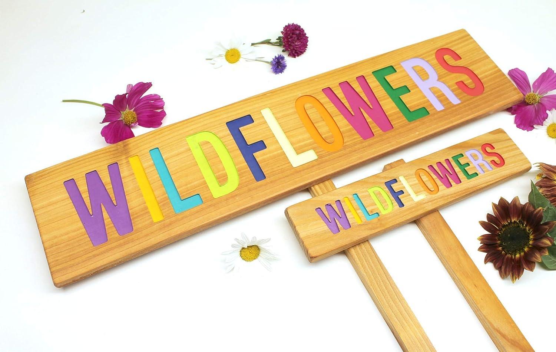 Wildflowers Colorful Garden Sign, Garden Decor, Natural Garden, Cedar Wood Routed Sign, Custom Garden Sign, Personalized Garden Marker