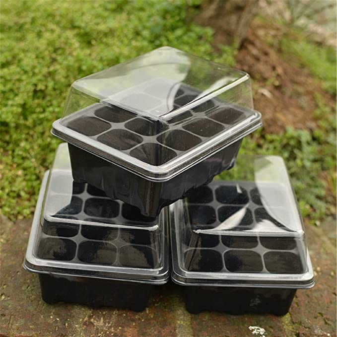 SmartRICH 4 pcs 12 Cells Hole Garden Plant Seeds Grow Box Plastic Vegetable Flower Plant Trays Black