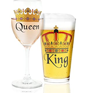 Juvale King Queen Crown Design Beer Wine Drinking Glasses For Couples Weddings