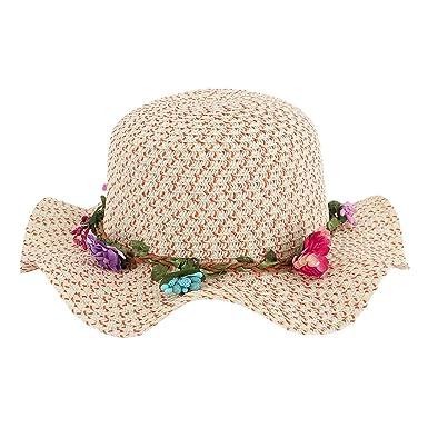ff367e879c1 Girl Children Sweet Flower Wide Brim Wreath Sun Hat Straw Hat (Orange)
