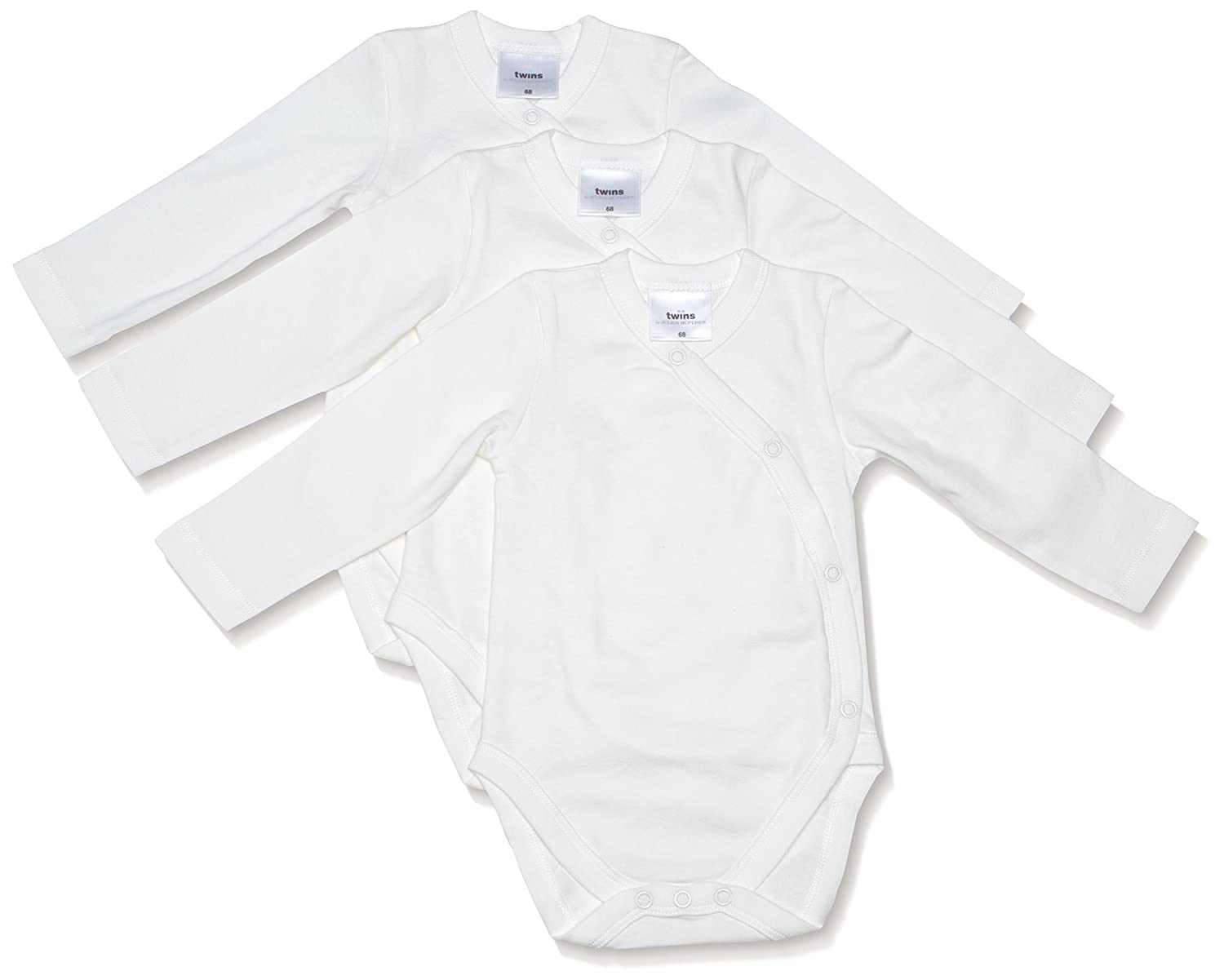 Twins Unisex Baby Organic Cotton Wrap-Around Bodysuit, Longsleeve, 3-Pack Julius Hüpeden GmbH 1 030 39