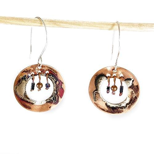 Boho Handmade Earrings Nature Jewellery Mixed Metal Earrings Tree of Life Recycled Sterling Silver /& Copper Earrings Silver Earrings