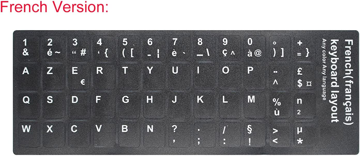 """2 PCS French Keyboard Stickers with Non-Transparent Black Background & White Letters for PC/Computer/Laptop [Size of Each Key Sticker: 0.43"""" x 0.51""""] (French)"""