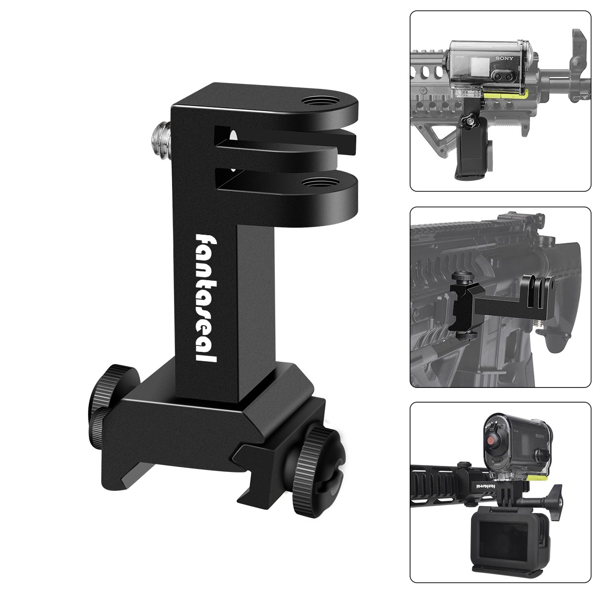 2in1 Action Camera Side Gun Mount Picatinny Rail Adapter Kit Compatible with Gopro Hero 6/5/4 SONY FDX HDR for Shotgun Hunting Rifle Pistol Carbine Airsoft Sports Camera Gun Rail Mount