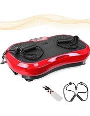 MVPower 3D Plateforme Vibrante Technologie de Vibrations à Bascule, Tactile LCD, 180KG de Charge, 3 Programmes Intégrés, Télécommande et Bandes Elastiques d'Entraînement Incluses
