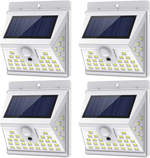 Solar Lights Outdoor Motion Sensor w/ 3 Lighting Modes, 270° Wide Angle Lighting, IP65 Waterproof. Bright Wireless Security Flood Light for Deck Garage Yard Porch Fence(40 LED, 5500K, 4 Pack, White)