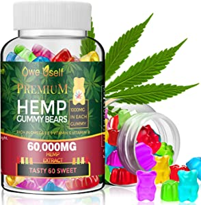 Hemp Gummies 60000mg - 100% Natural Hemp Oil Infused Gummies for Anxiety, Stress & Inflammation Relief,Promotes Sleep,Tasty & Relaxing (1)