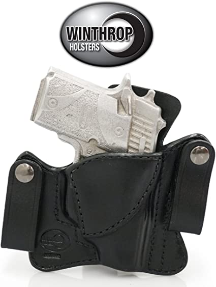 Fits Glock 19 Green Crimson Trace Laser IWB Dual Snap Leather Holster R//H Black
