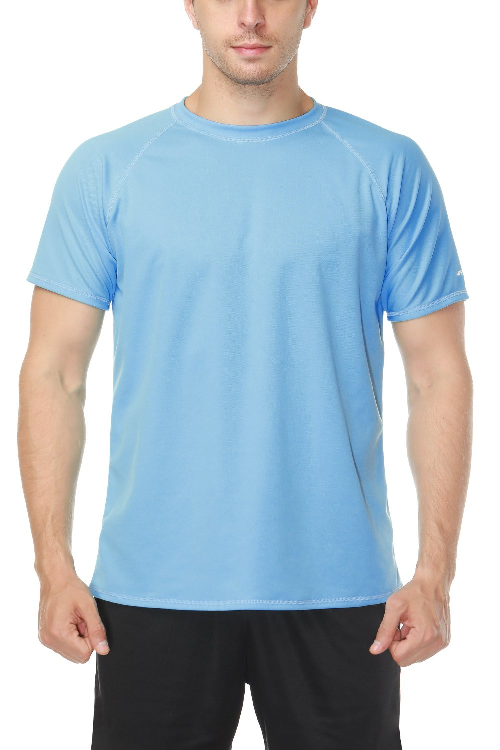 V FOR CITY Water Shirts for Men Short Sleeve Swim Shirt Rash Guard Swimsuit Top Blue L by V FOR CITY