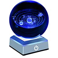 (Solar System Crystal Ball) - Erwei Solar System Crystal Ball 80mm with 3D Laser Engraved Sun System with a Touch Switch LED Light Base Cosmic Model with Names of Various Celestial Bodies