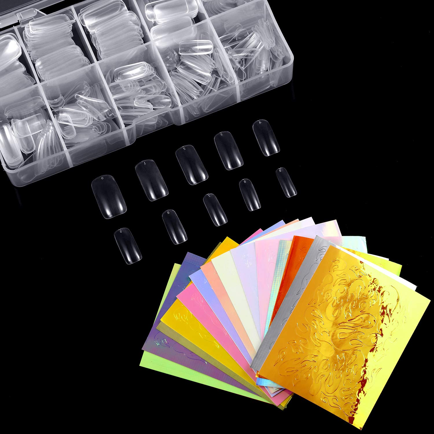 Blulu 500 Pieces Clear Acrylic Nail Tips 10 Sizes Fake Nails Half Cover with 16 Pieces Holographic Fire Nail Art Stickers Flame Reflections Tape Adhesive Sticker DIY Decoration Nail Decor Design by Blulu