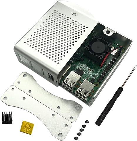 Raspberry Pi B+ 2B 3B 3B + caja de carcasa de aluminio chasis de metal con ventilador de refrigeración integrado plateado plata: Amazon.es: Electrónica