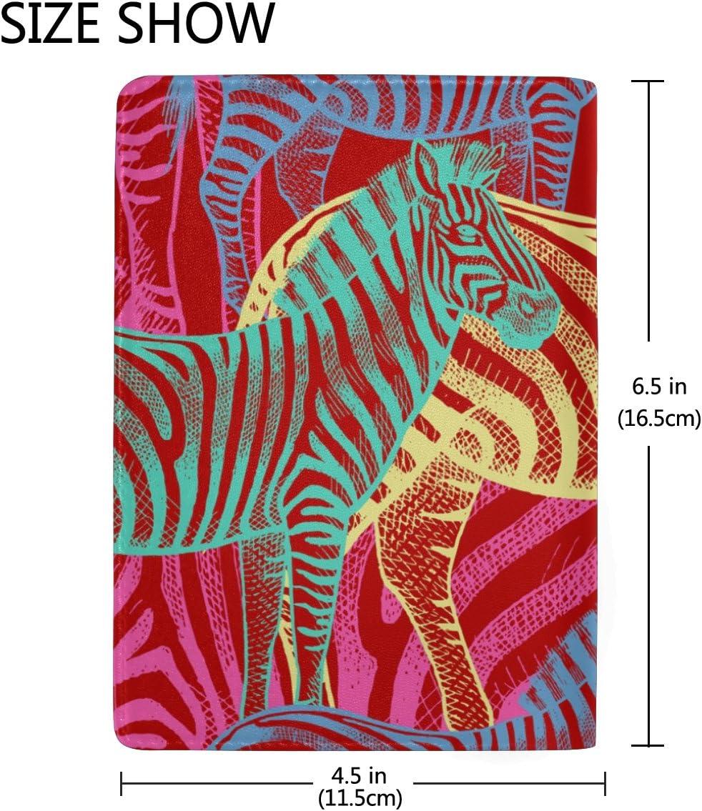 Art Zebra Genuine Leather Passport Holder Wallet Case Cover for Men Women