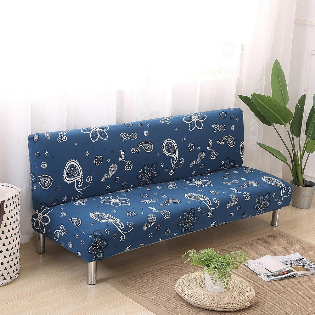 Armless Sofa Bed Cover Printed Elastic Sofa Slipcover Protector Folding Couch Shield aneil