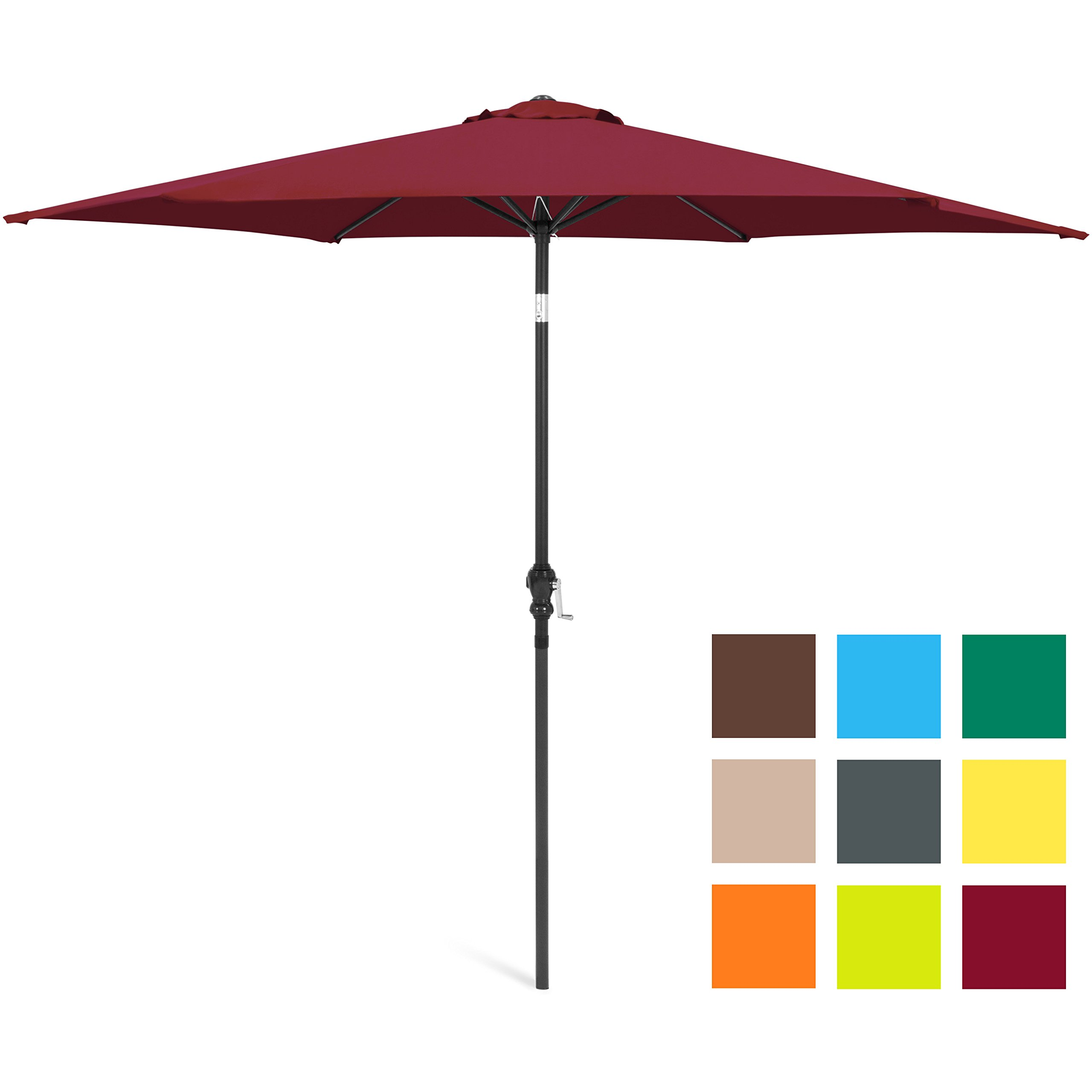 Best Choice Products 10ft Outdoor Steel Market Backyard Garden Patio Umbrella w/ Crank, Easy Push Button Tilt, 6 Ribs, Table Compatible - Burgundy by Best Choice Products