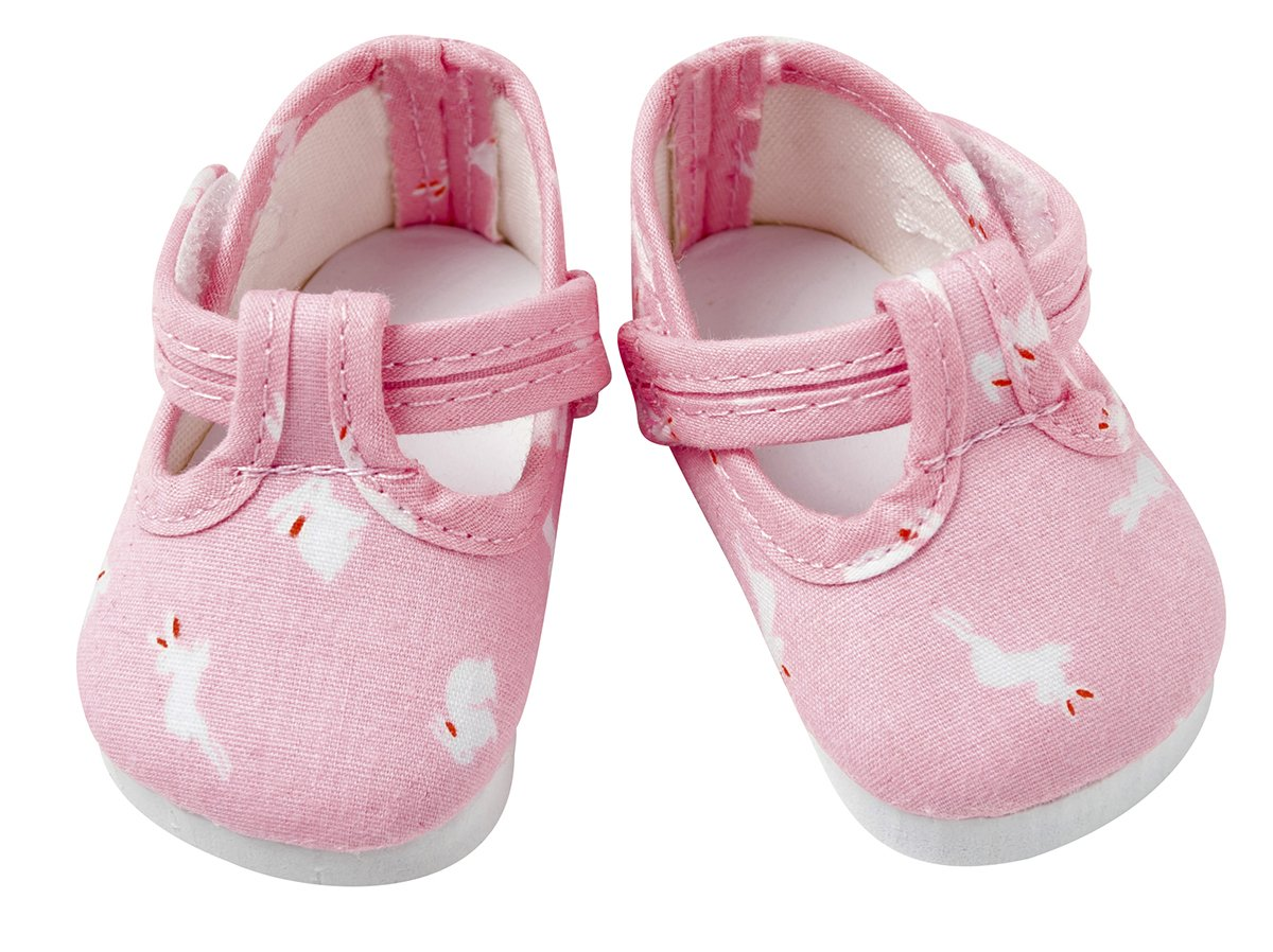 Frilly Lily Navy Dolls shoes with Little White Bunnies large size 8.2x 4.2 cm TO FIT DOLLS SUCH AS 46 CM BABY ANNABELL