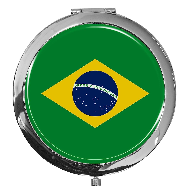 metALUm Premium - miroir de poche en métal chromé drapeau Brésil avec une couche noble de résine sythétique - un cadeau idéal pour les fans de Brésil