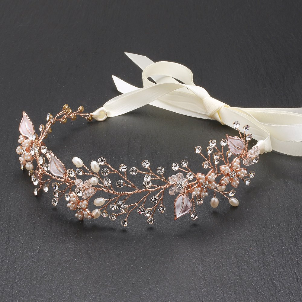 Mariell Rose Gold Freshwater Pearl and Crystal Bridal Hair Vine Ribbon Headband 4384HB-I-RG
