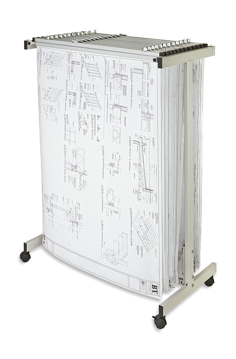Adir Corp. Expandable Mobile Plan Center for Blueprints - Plans, Sand Beige with 12 36'' File Hanging Clamps