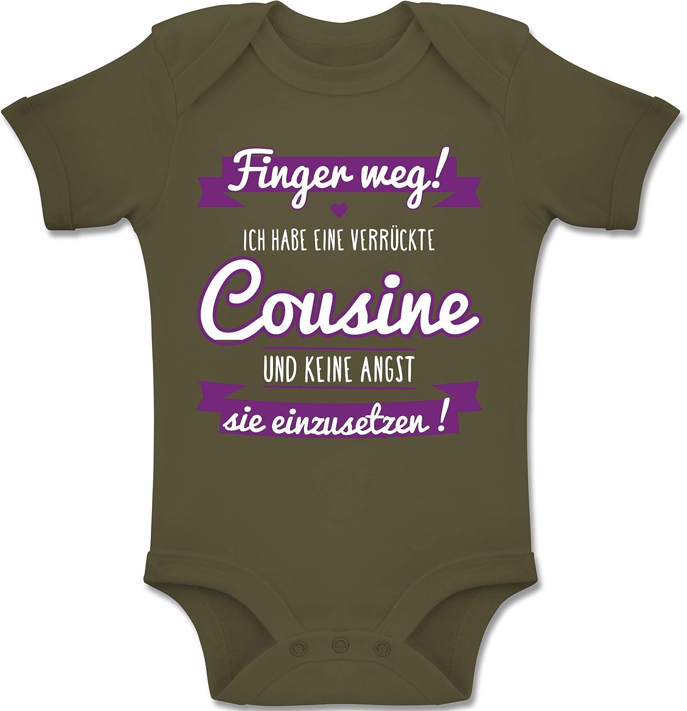 Baby Body Kurzarm f/ür Jungen und M/ädchen Shirtracer Spr/üche Baby Ich Habe eine verr/ückte Cousine lila