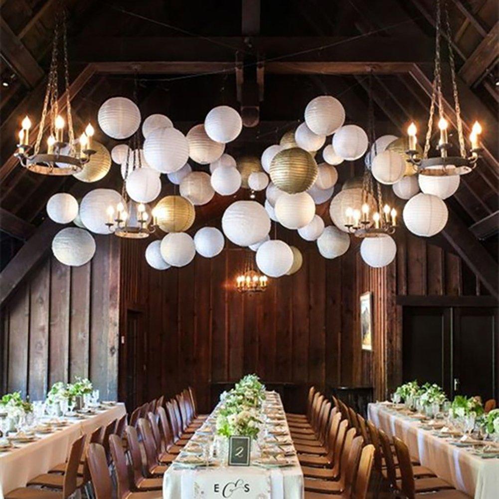 24/sachets papier blanc lanternes avec Tailles assorties pour d/écoration de mariage r/éception Crafts lumi/ères de f/ête et DIY lanternes 6PCS dor/é
