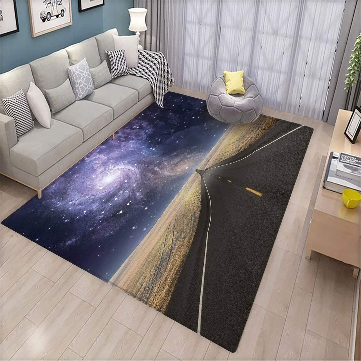 Surrealistic,Modern Personality Carpet,Highway Leads Milky Way Nebula Sky Mystic Life Fantasy Image,Can be Used for Floor Decoration,5.6'x7.6' Lilac Cadet Blue Sand Brown
