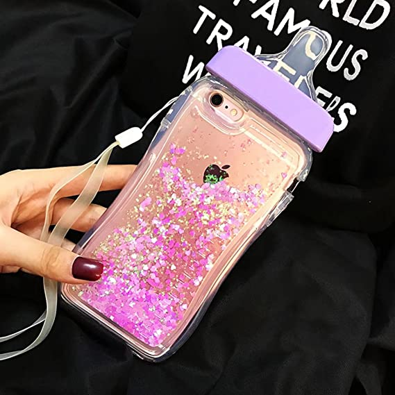 pretty nice c4221 2a859 For iPhone 8 Plus/7 Plus Case,QKKE 3D Flowing Floating Sparkle Hearts  Liquid Transparent Ultra thin Soft TPU Baby Feeding Bottle Case For iPhone  8 ...