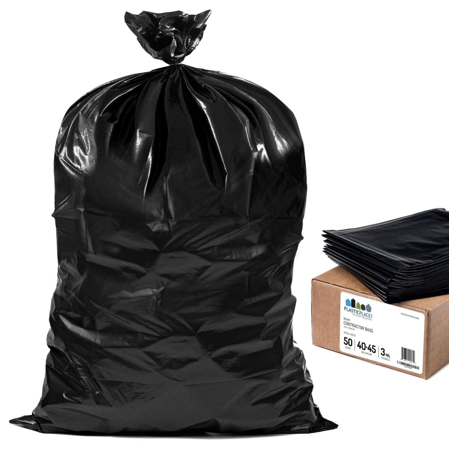 Plasticplace Contractor Trash Bags 40-45 Gallon │ 3.0 Mil │ Black Heavy Duty Garbage Bag │ 40'' x 48'' (50 Count)