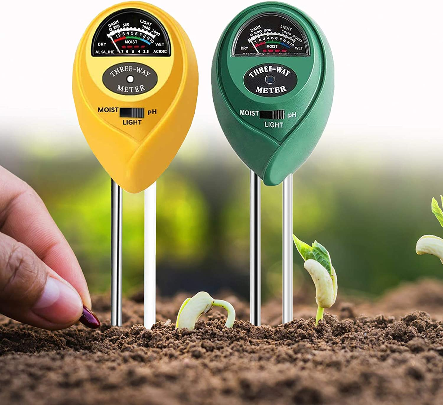 HSTMYFS Soil pH Meter, 2 Pack 3-in-1 Soil Tester Kits with Moisture,Light and PH Test for Garden, Farm, Lawn, Indoor & Outdoor (No Battery Needed)