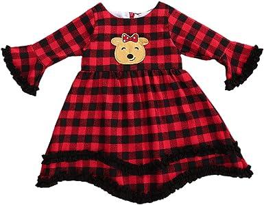Yccutest Baby Girl Christmas Outfits Long Sleeve Overall Skirts Set Fleece Princess Dress Toddler Girls Clothes