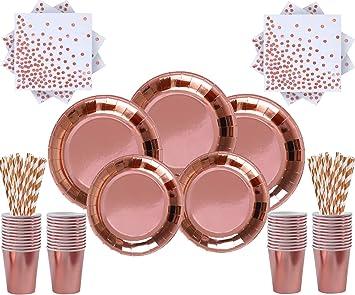 Stoviglie USA E Getta in Oro Rosa Forniture per Feste Natalizie per Matrimoni 96 Pezzi JJYHEHOT Stoviglie per Feste Oro Rosa