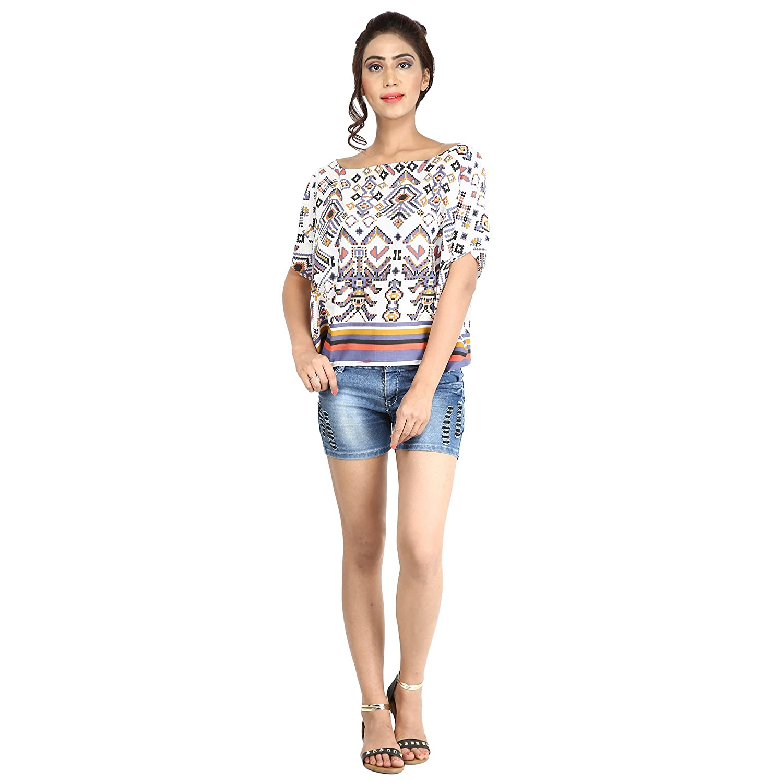 Causal Blouse Fashion Farmers Cotton Geometrical Printed Top Off Shoulder Top..... Short Kaftan