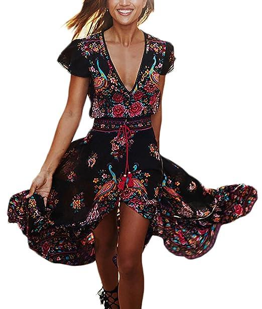 Mujer Vestidos Largos De Verano Vestidos Playa Elegantes Manga Corta V Cuello Fiesta Estilo Casual Vintage Hippie Boho Flores Vestidos Verano Vestido Largo ...