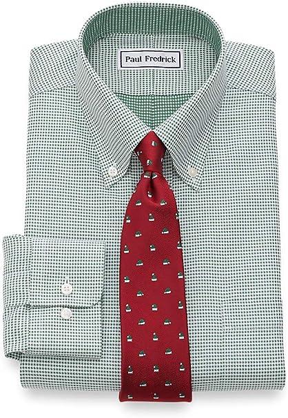 Paul Fredrick Mens Classic Fit Non-Iron Cotton Houndstooth Dress Shirt