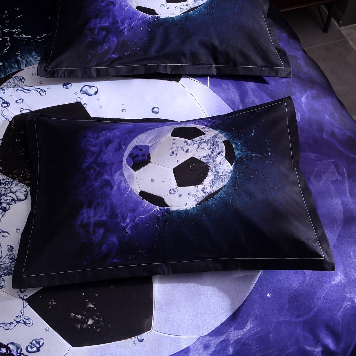 Onlyway doux Housse de couette D/éfinit Football Parure de lit avec housse de couette et taie doreiller 150*210cm for 1.2M Bed Multiple