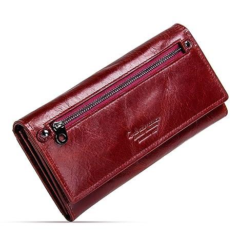 ac6e344fa1 Contacts Portafoglio borsellino portafogli donna in vera pelle bifold con  portamonete (Rosso)