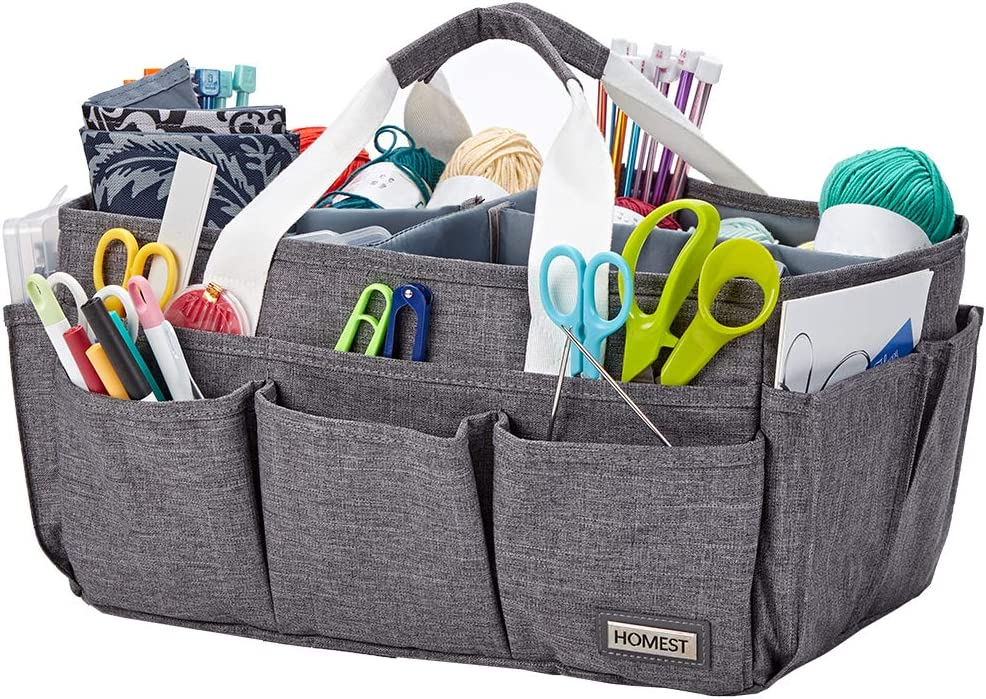 HOMEST Craft Supplies Organizer Tote Bag, Caddy for Scrapbooking & Sewing, Handle Carrier for Craft Tools, Grey