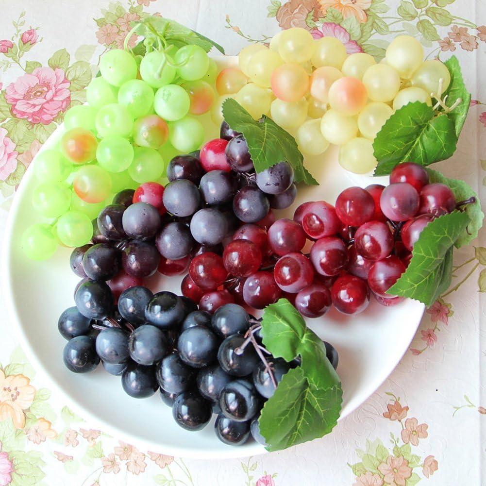 4 uvas artificiales de alta simulación, color verde, amarillo, rojo, vino, negro, para uvas falsas de frutas, cocina, oficina y accesorios de fotografía