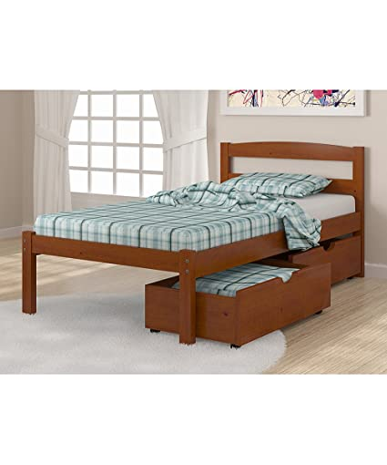 Amazon Com Solid Wood Espresso Twin Bed With Drawers Kitchen Dining