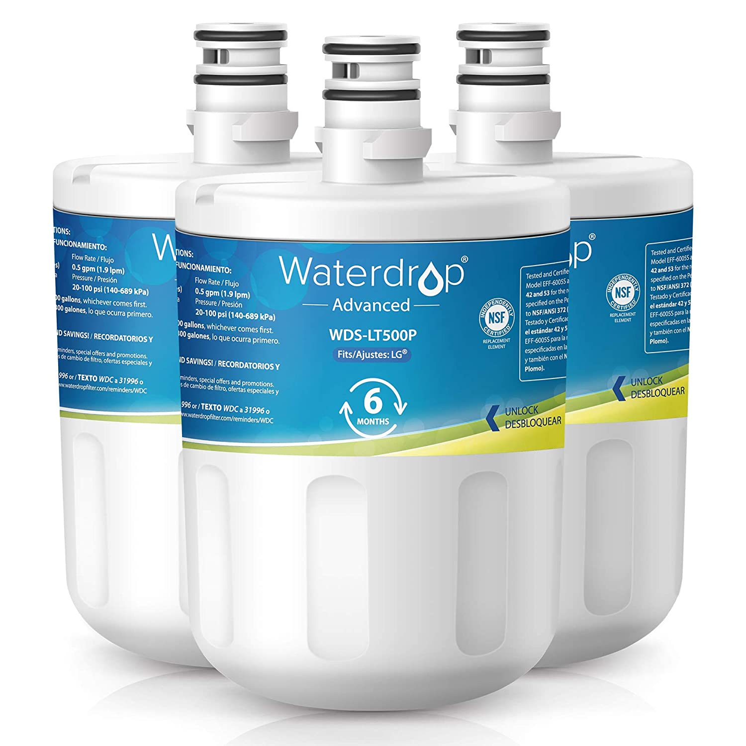 Waterdrop NSF 53&42 Certified LT500P Replacement Refrigerator Water Filter, Compatible with LG LT500P, 5231JA2002A, ADQ72910901, Kenmore GEN11042FR-08, 9890, 46-9890, Advanced Series, Pack of 3